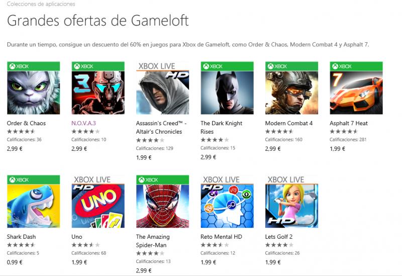 Ofertas de Gameloft