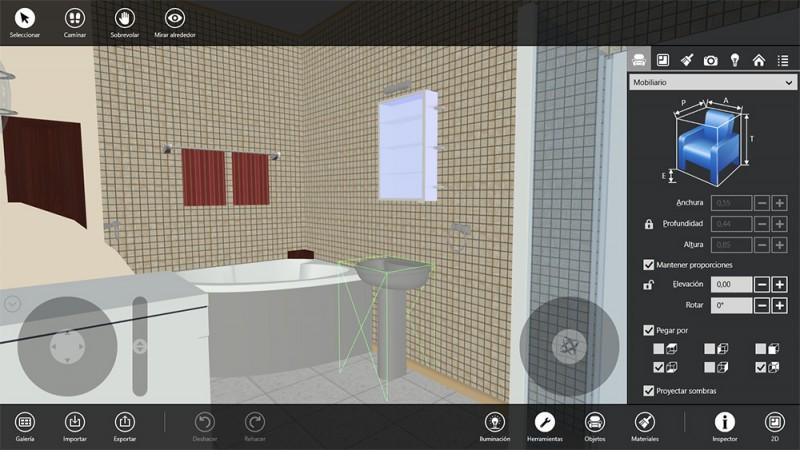 Paneles de la interfaz de Live Interior 3D Pro