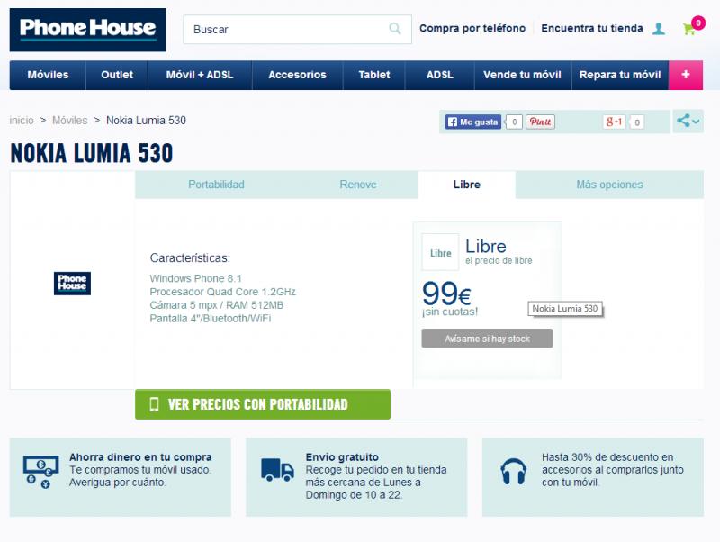 Nokia Lumia 530 por 99 € en The Phone House