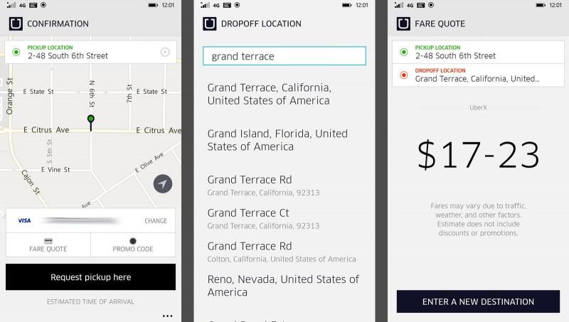 Conocer el coste en Uber para Windows Phone