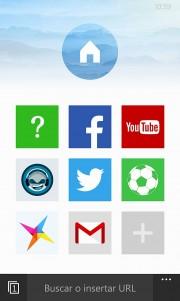 Pantalla de inicio de UC Browser 4.0 Beta