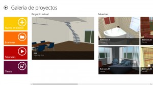 Pantalla inicial con un proyecto activo de Live Interior 3D Pro