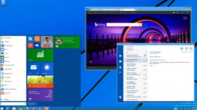 Menú inicio y apps Modern UI en ventanas en Windows 9