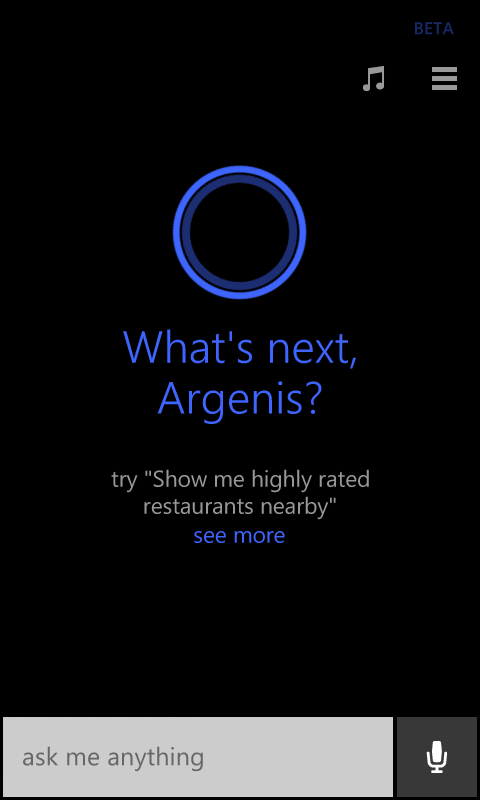 Inicio de Cortana
