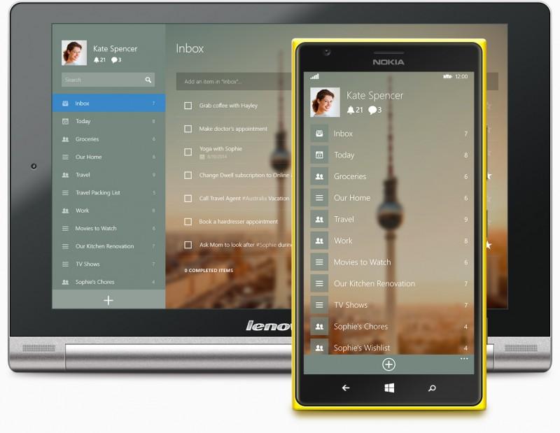Wunderlist aplicación universal para Windows y Windows Phone