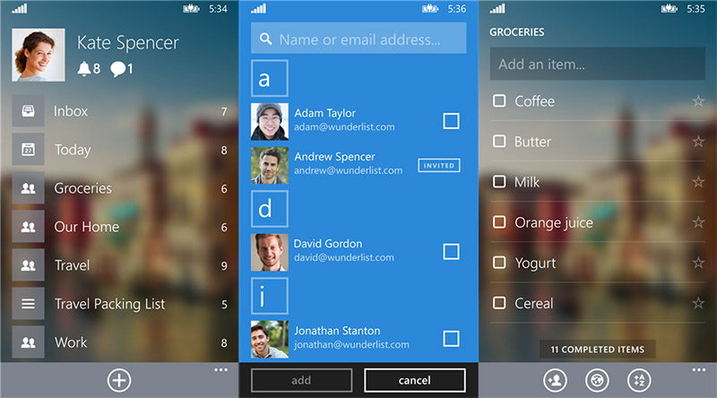 Wunderlist Beta para Windows Phone