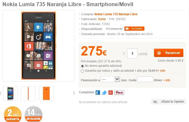 Nokia Lumia 735 a la venta