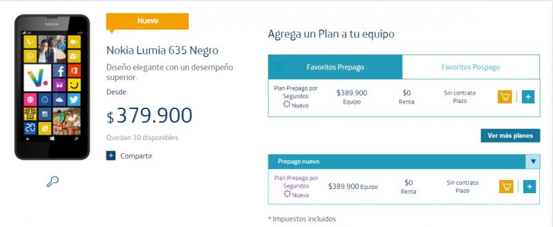 Lumia 635 Movistar Colombia
