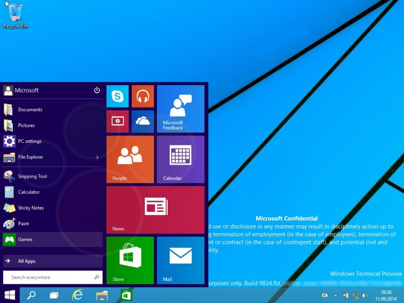 Windows 9 Preview Build 9834 - Menu de inicio