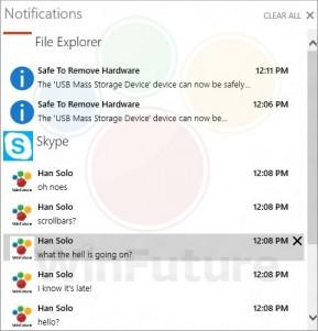 Centro de notificaciones en Windows 9 (nombre interno Threshold)