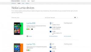 Página de los dispositivos Nokia Lumia
