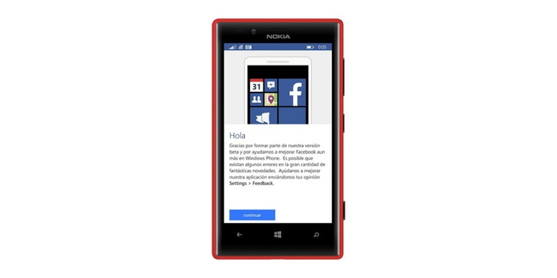 Facebook Beta en el Nokia Lumia 720