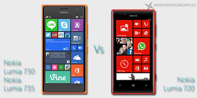 Nokia Lumia 730 y 735 comparado con el Nokia Lumia 720