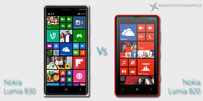 Nokia Lumia 830 comparado con el Nokia Lumia 820