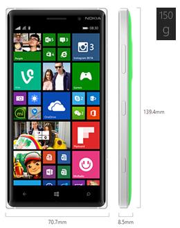 Dimensiones del Nokia Lumia 830