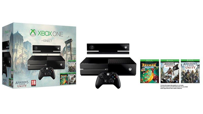 Pack de Xbox One con Kinect + Assassin's Creed Unity y 2 juegos más