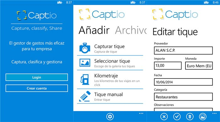 captio para Windows Phone- capturas