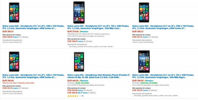 Nokia Lumia 830 en Amazon