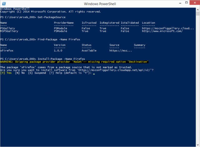 windows 10 powershell oneget