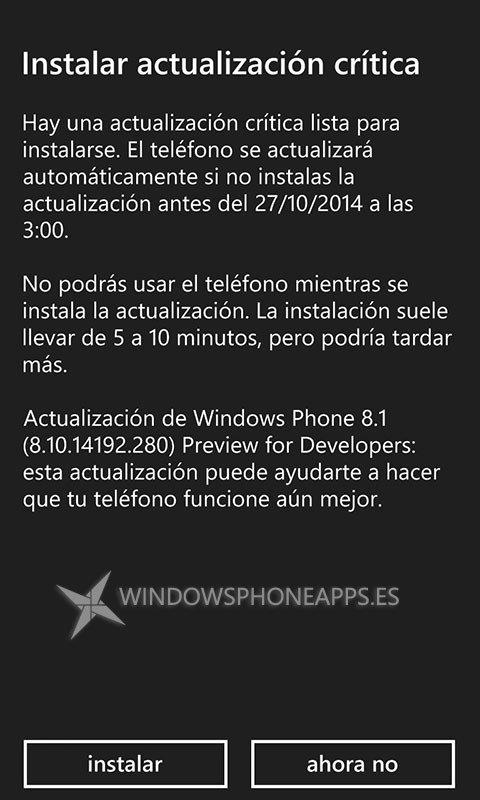 WP 8.1 PfD actualización critica