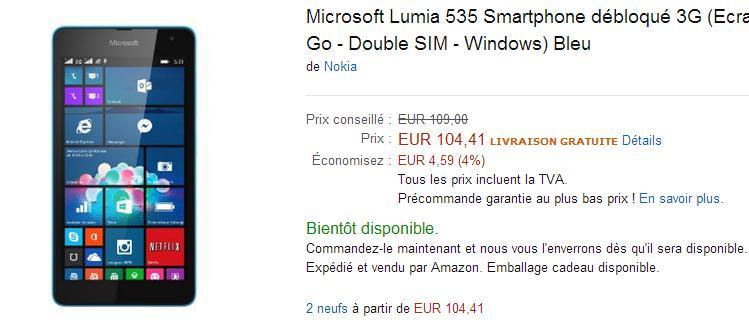 compra del Lumia 535
