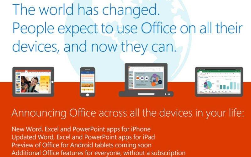 Office ahora también gratis para Android e iOS
