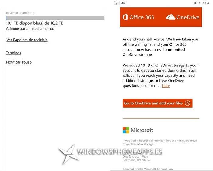 Onedrive para suscriptores de  Office365