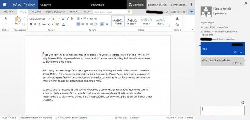 Skype ahora integrado con Office Online