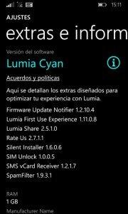 Extras e información se actualiza añadiendo información de RAM
