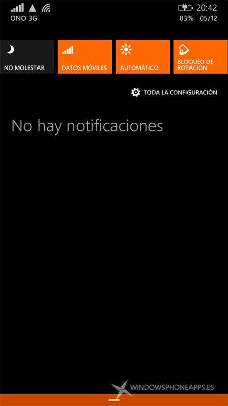 Datos móviles en el centro de notificaciones