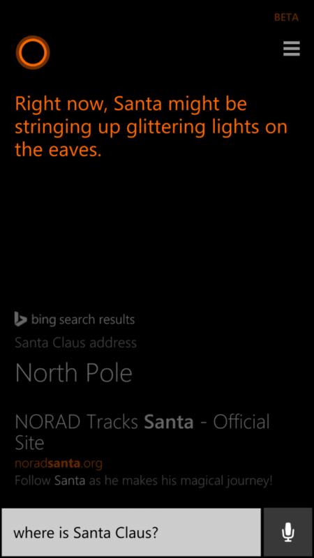 Cortana te dice donde está Papa Noel