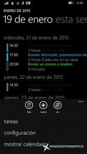 Modo agenda en el Calendario de Windows Phone 8.1