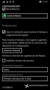 Configuración del Calendario de Windows Phone 8.1