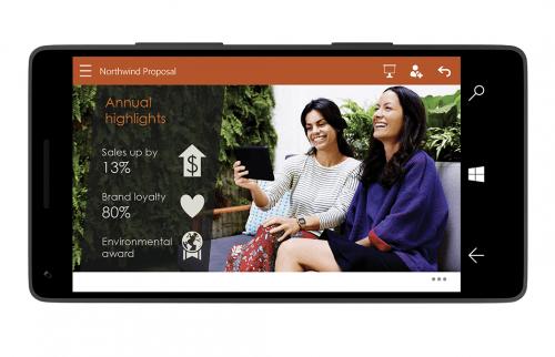 Microsoft Office PowerPoint en Windows 10 para móviles y tablets