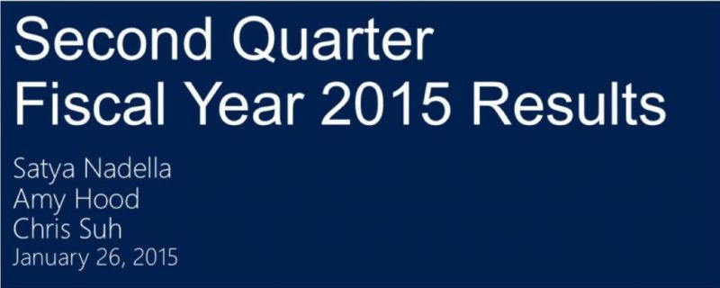 Resultados financieros de Microsoft del segundo trimestre del año fiscal 2015