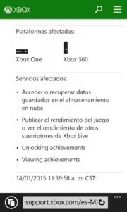 Algunos de los servicios Xbox Live sufren una caída