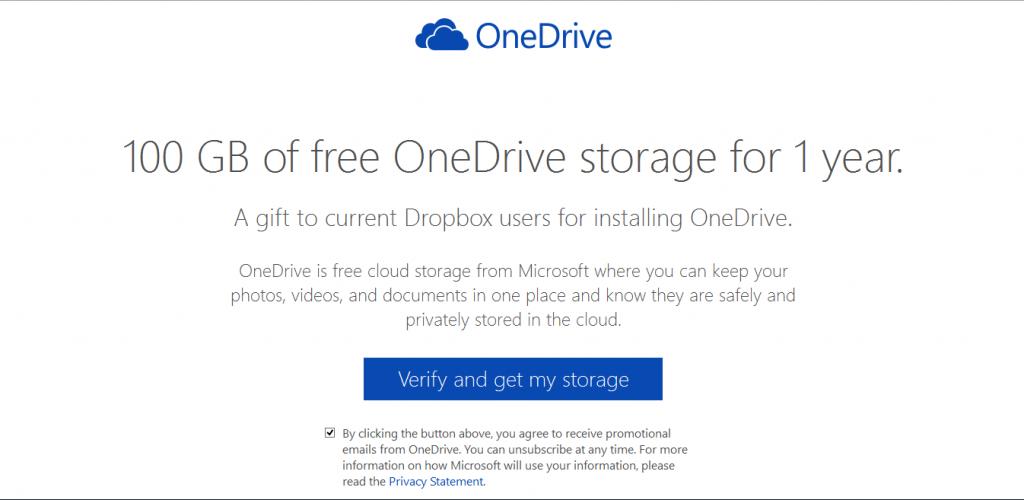 Obtén 100Gb extra en OneDrive por un año migrando desde Dropbox