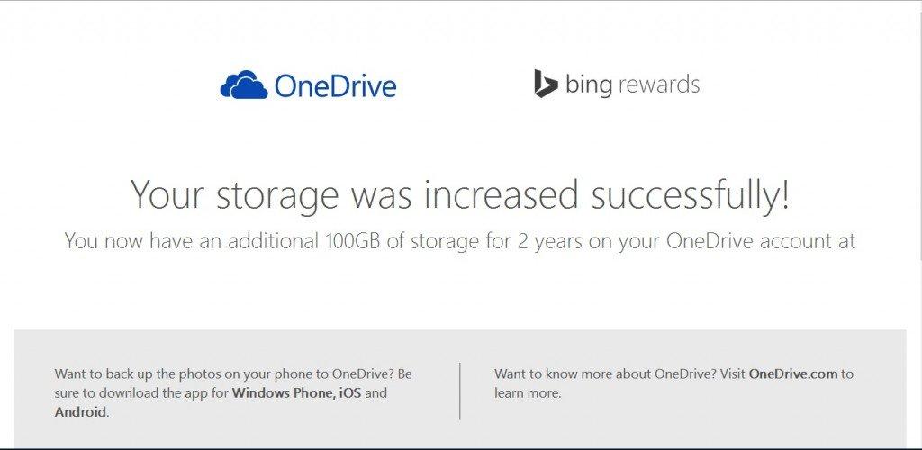 Obtén 100GB de almacenamiento gratuito en OneDrive por dos años
