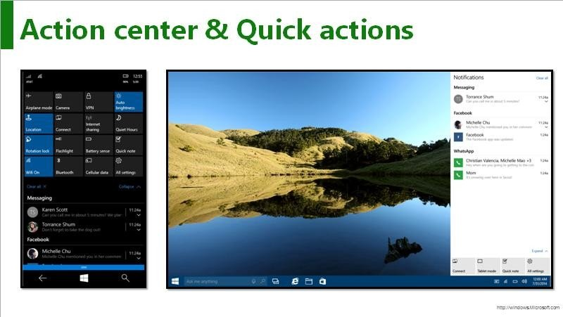 action center y quick actions windows 10