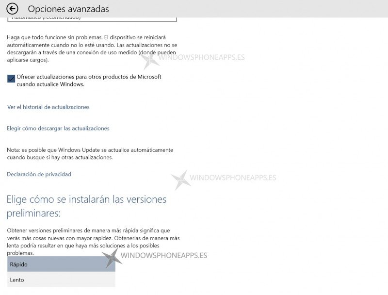 Modo rápido o lento de actualizaciones de Windows 10 Technical Preview