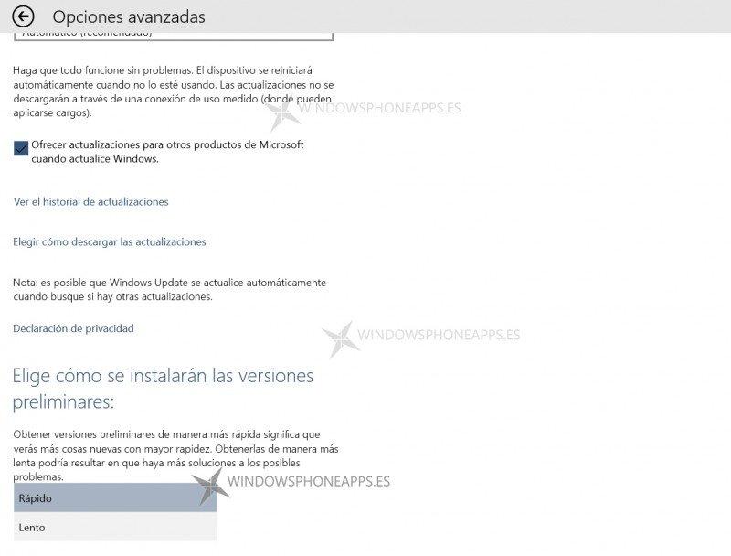 Modo rápido o lento de actualizaciones de Windows 10 Technical Preview