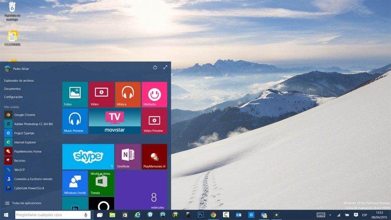 tamaño del menú de inicio en Windows 10