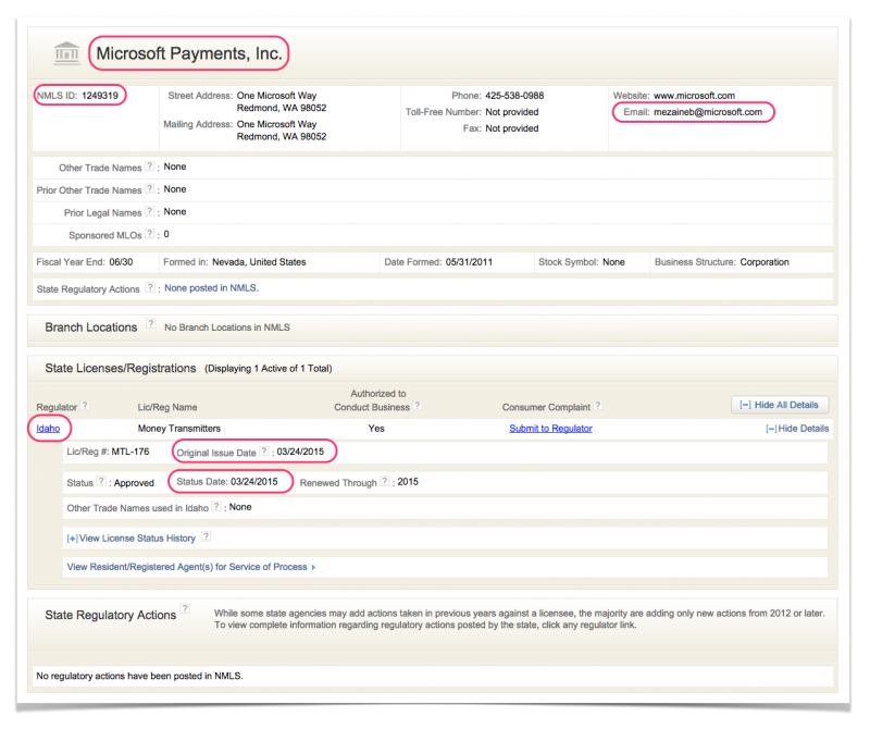 Microsoft Payments Inc