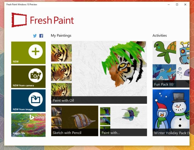 Fresh Paint Windows 10 Preview 2
