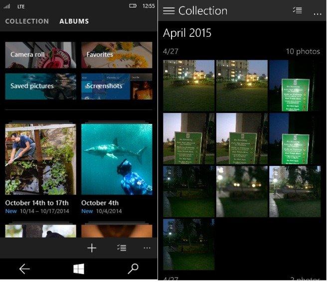 albumes en Windows 10 para móviles
