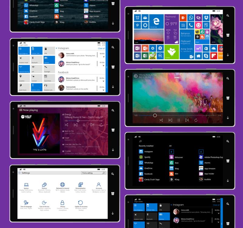 Windows 10 mobile concepto