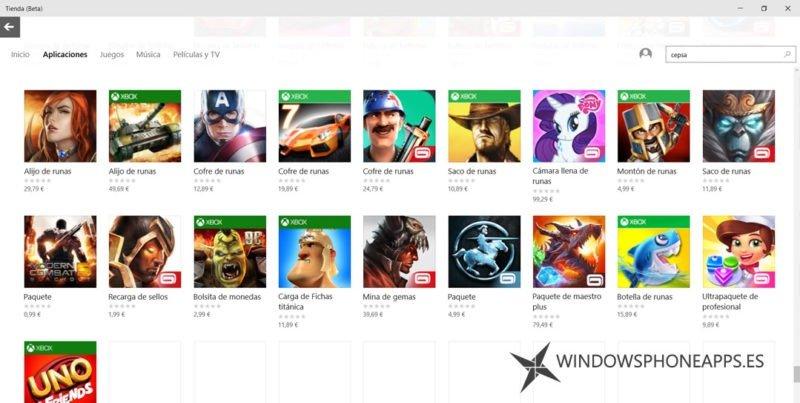 compras in app tienda beta windows 10 1