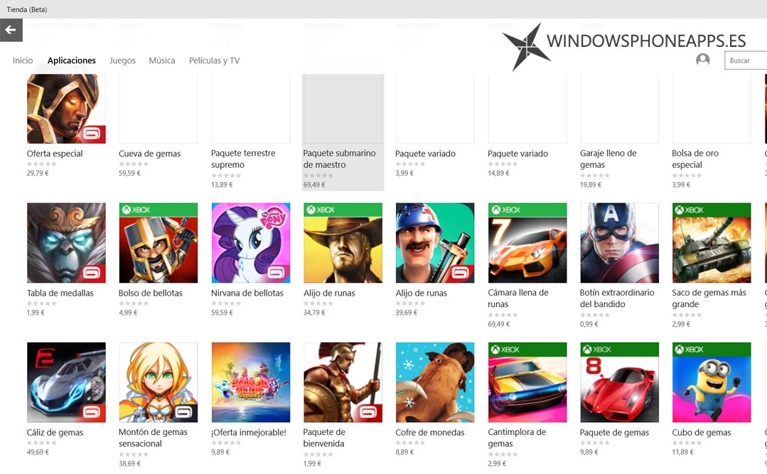 compras in app tienda beta windows 10