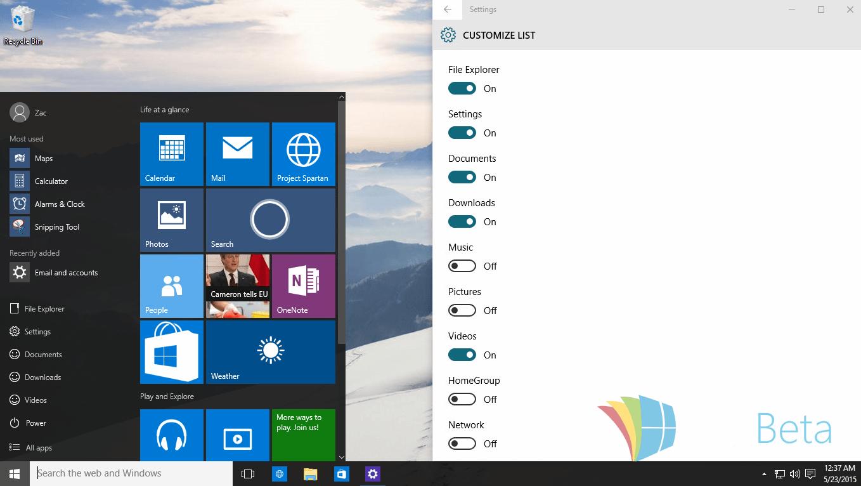 menu de inicio build 10125