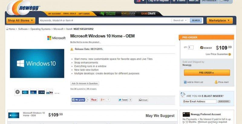 precios y fecha de lanzamiento de Windows 10 home
